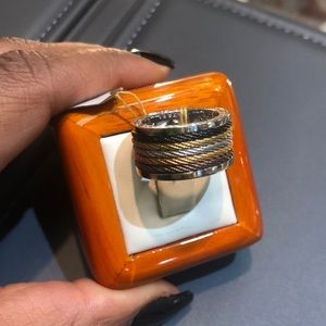 18k white gold cable band  Alor ring